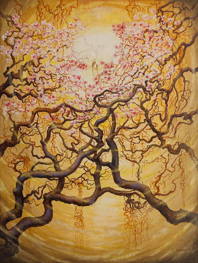 Sun And Sakura Painting