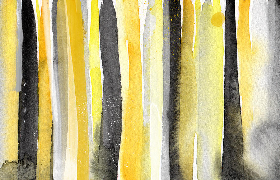 Abstract Yellow And Grey Painting Painting - Sun And Shadows- Abstract Painting by Linda Woods