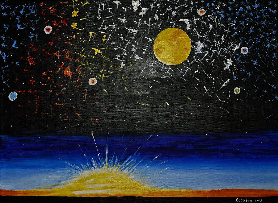 Sun Moon And Stars Painting