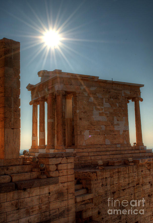 Sun Over Athena Nike Temple Photograph  - Sun Over Athena Nike Temple Fine Art Print