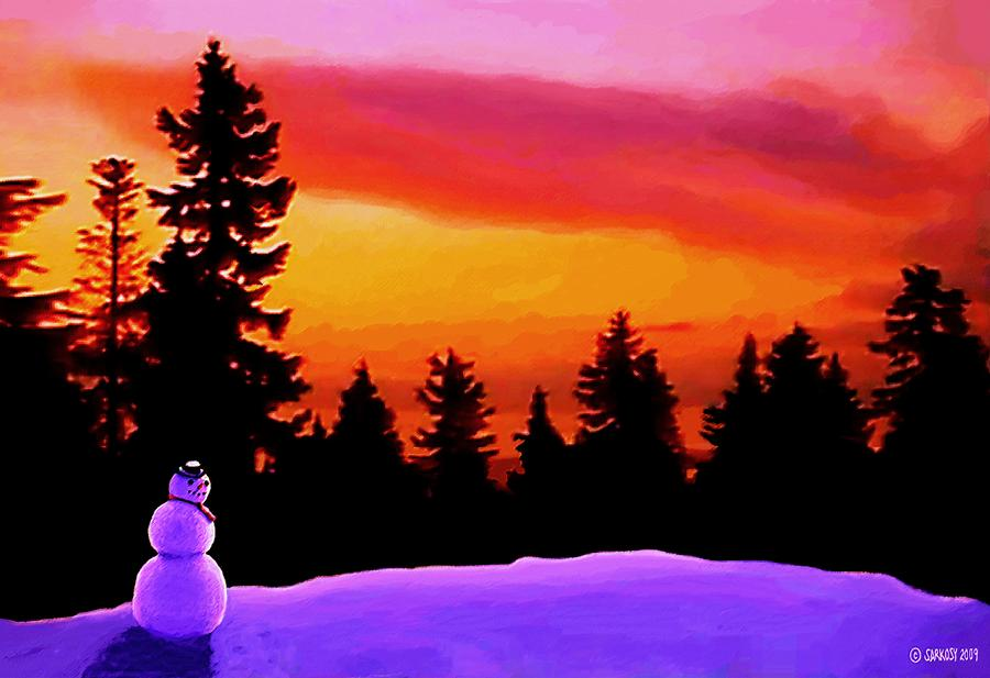 Sun Setting On Snow Painting  - Sun Setting On Snow Fine Art Print