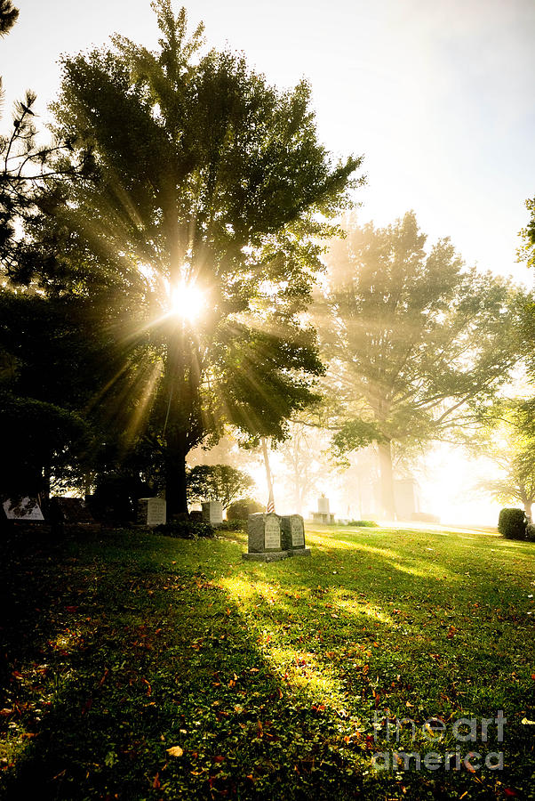 Sunburst Over Cemetery Photograph