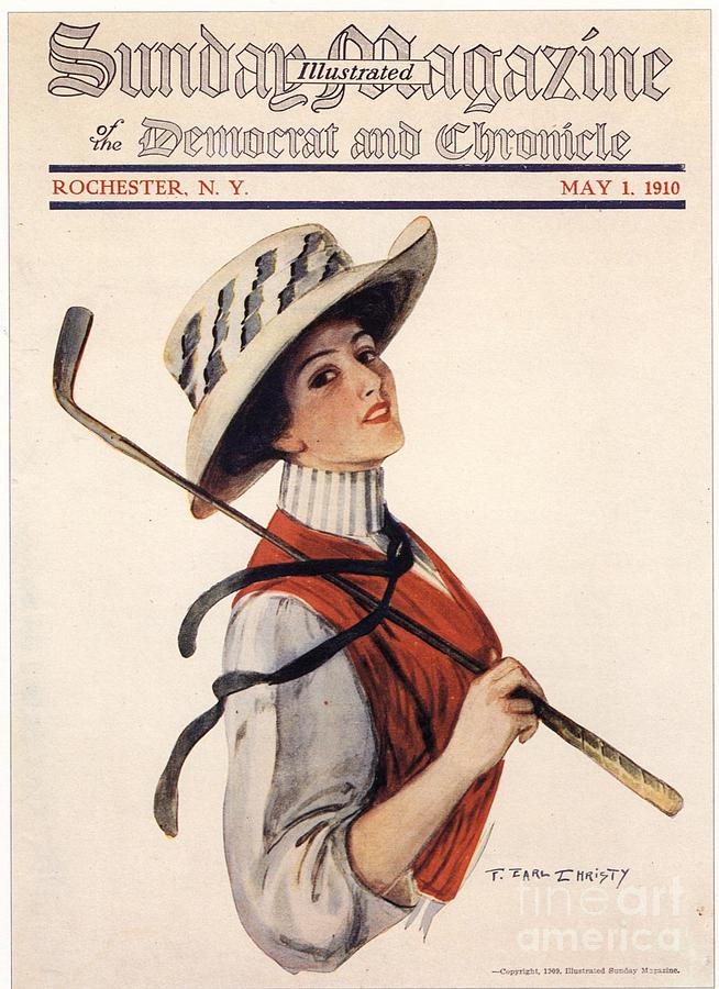 Sunday Magazine 1910s Usa Golf Womens Drawing  - Sunday Magazine 1910s Usa Golf Womens Fine Art Print
