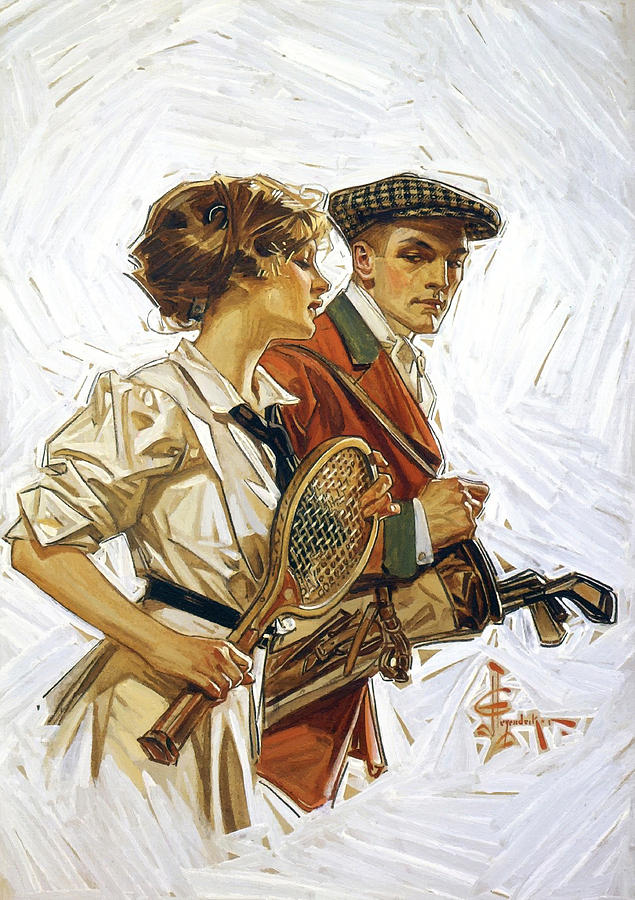 Sunday Sports 1910 Painting  - Sunday Sports 1910 Fine Art Print