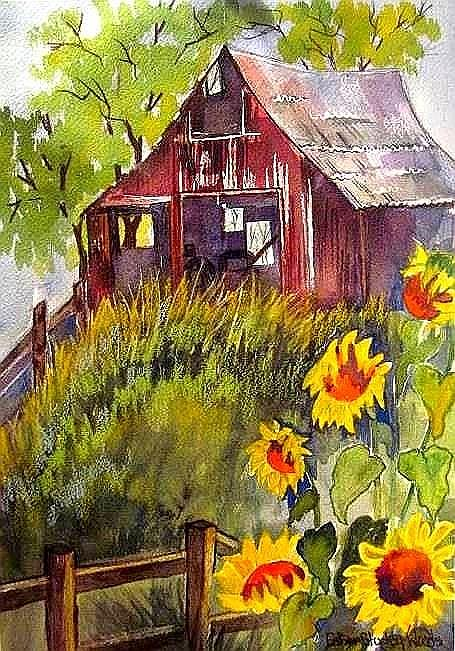 Sunflower Barn Painting