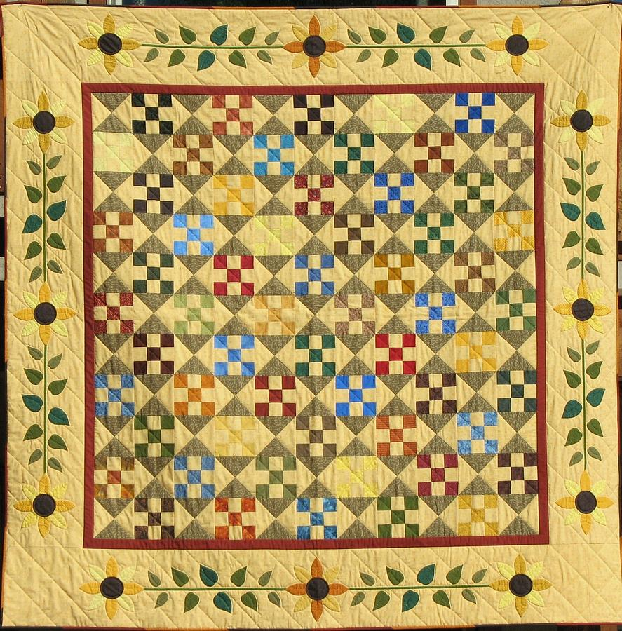 Sunflower Quilt Tapestry - Textile