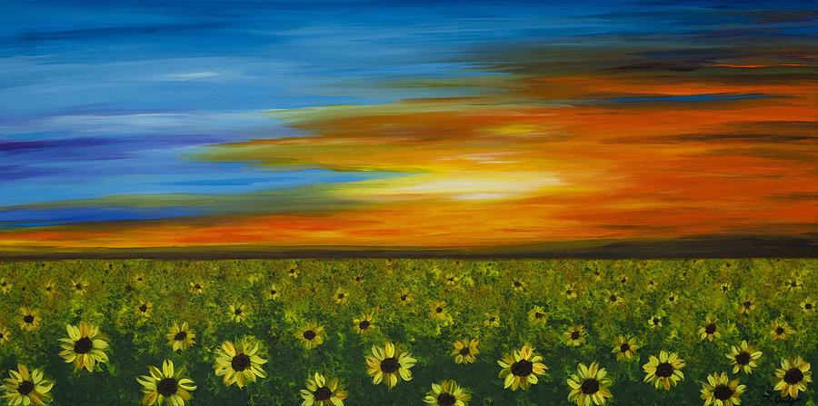 Sunflower Sunset - Flower Art By Sharon Cummings Painting