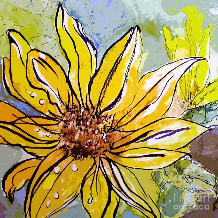 Sunflower Yellow Ribbon Painting