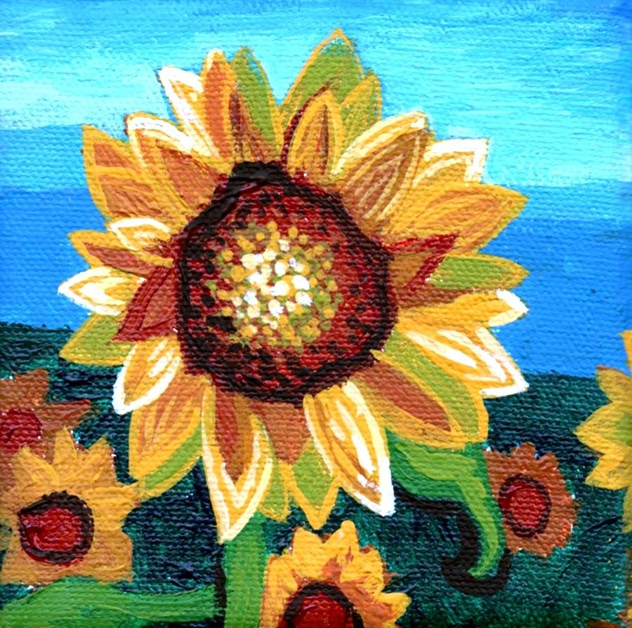 Sunflowers And Blue Sky Painting  - Sunflowers And Blue Sky Fine Art Print