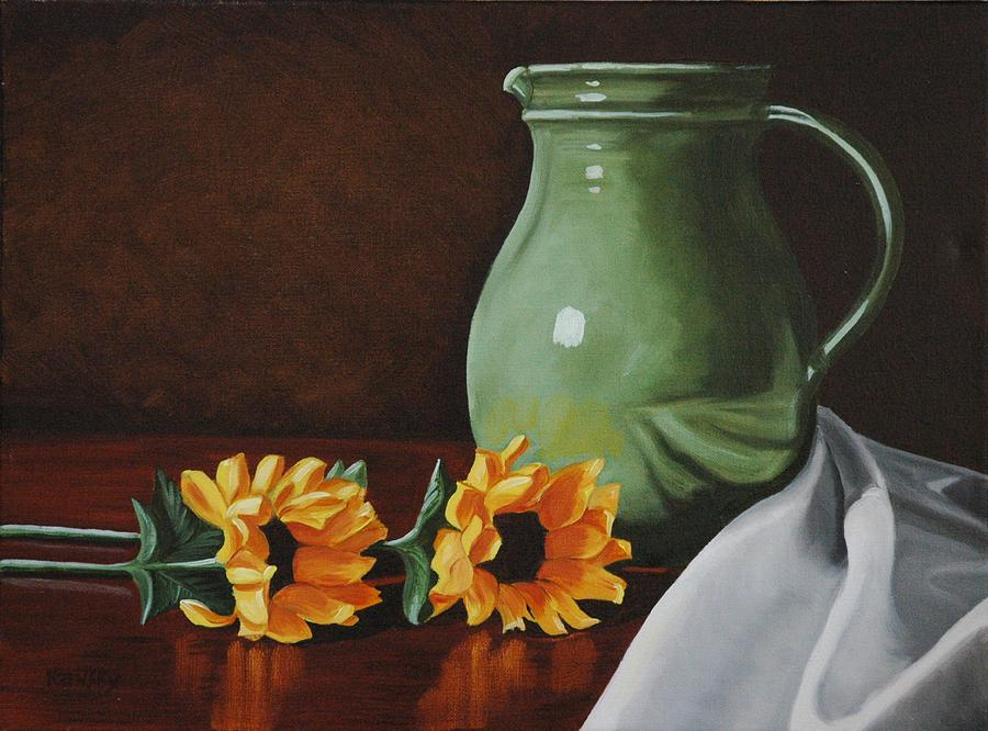 Sunflowers And Green Water Jug Painting  - Sunflowers And Green Water Jug Fine Art Print