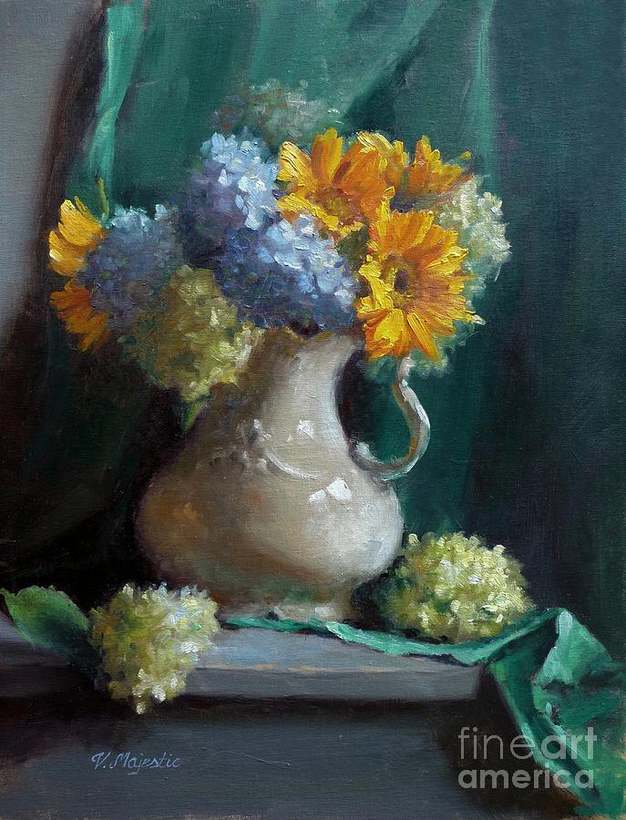 Sunflowers And Hydrangeas Painting  - Sunflowers And Hydrangeas Fine Art Print