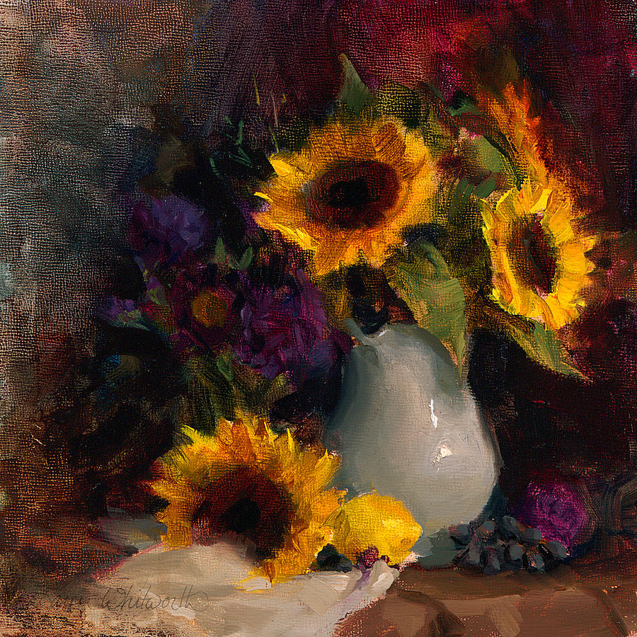 Sunflowers And Porcelain Still Life Painting by Karen ...