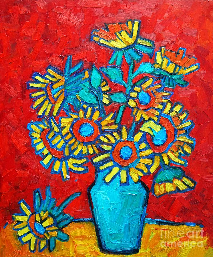 Sunflowers Painting - Sunflowers Bouquet by Ana Maria Edulescu