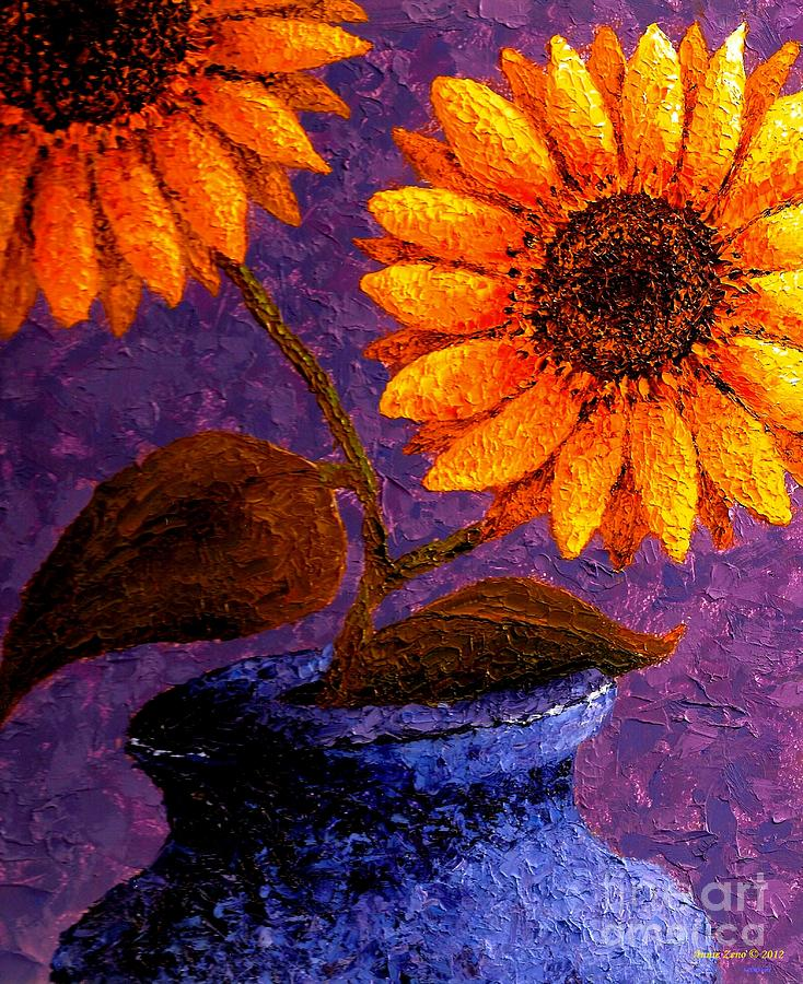 Sunflowers In Ceramic Pot II Painting