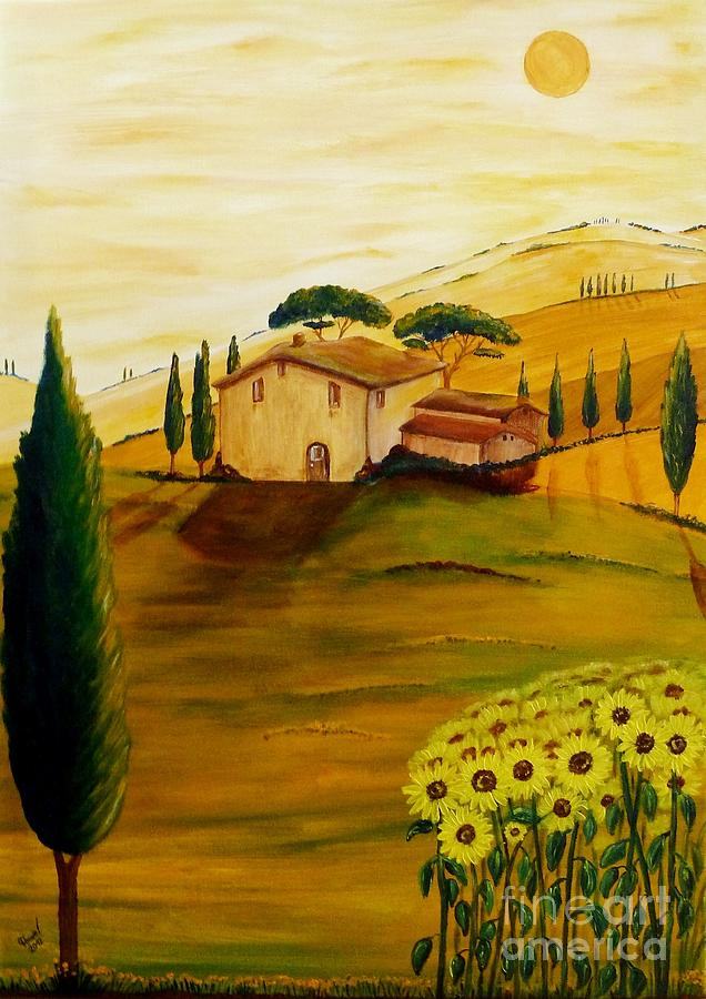 Sunflowers In Tuscany Painting