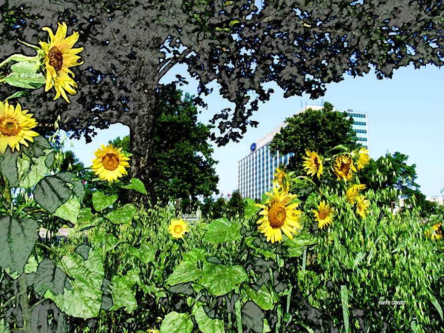 Sunflowers Outside Ford Motor Company Headquarters In Dearborn Michigan Mixed Media