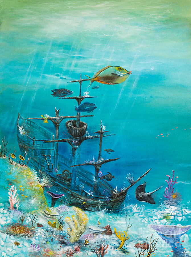 Sunken Ship Painting Painting - Sunken Ship Habitat by John Garland  Tyson