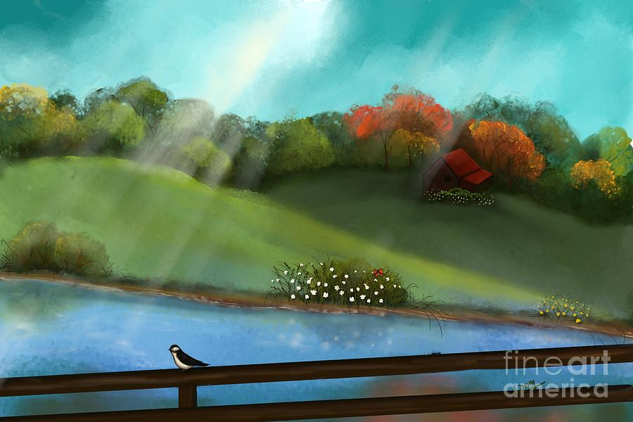 Sunny Meadow By The Water Painting  - Sunny Meadow By The Water Fine Art Print