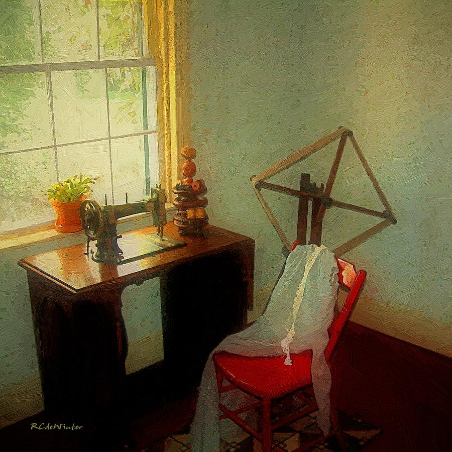 Antiques Painting - Sunny Sewing Room by RC deWinter
