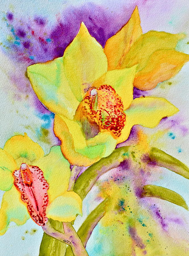 Sunny Splash Of Orchids Painting