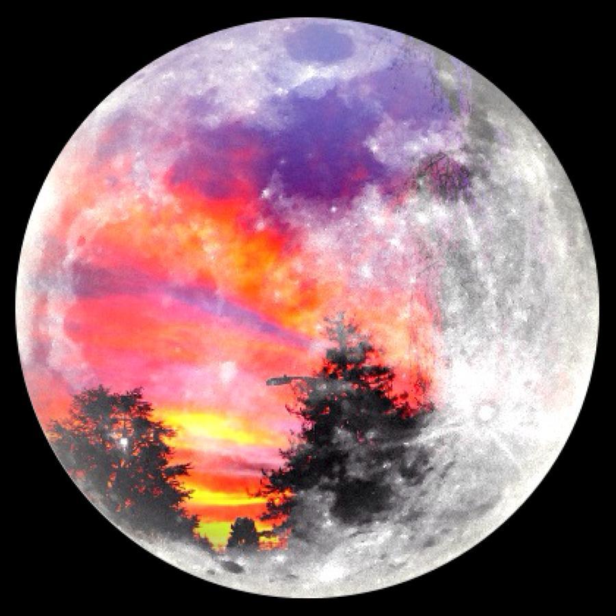 Sunrise Photograph - Sunrise And Full Moon by Anne Thurston