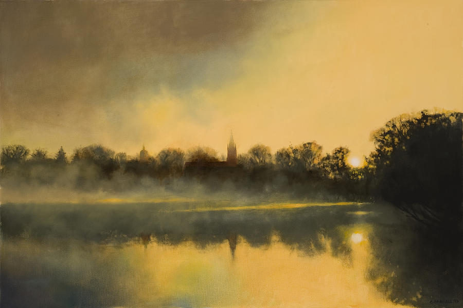 Sunrise At Notre Dame Painting  - Sunrise At Notre Dame Fine Art Print