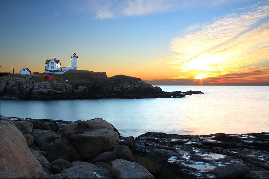 Sunrise At Nubble Photograph