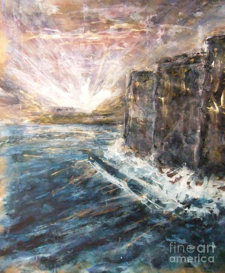 Sunrise At Tal-gurdan Cliffs Painting