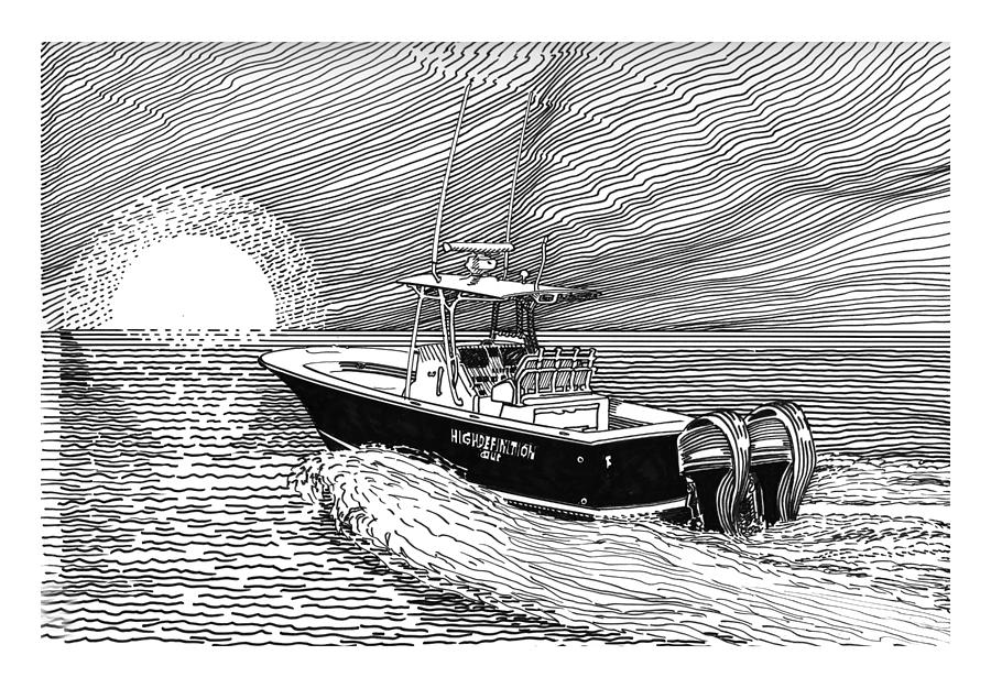 Ink Drawings  By Jack Pumphrey Of Yacht Drawing - Sunrise Fishing by Jack Pumphrey