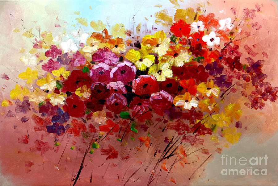 Sunrise Flowers - Abstract Oil Painting Original Modern Contemporary Art House Wall Deco Painting