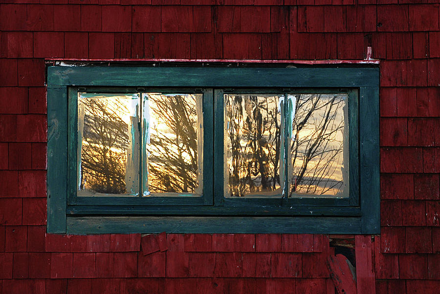 Sunrise In Old Barn Window Photograph