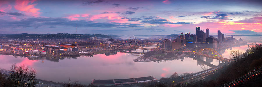 Sunrise In Pittsburgh Pano  Photograph