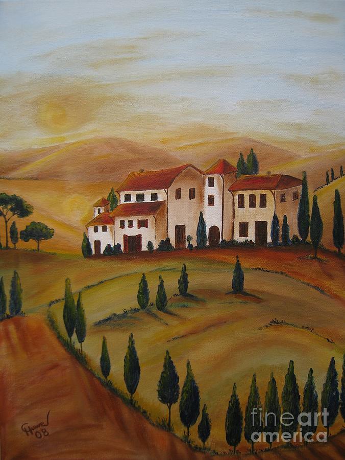 Sunrise In Tuscany Painting
