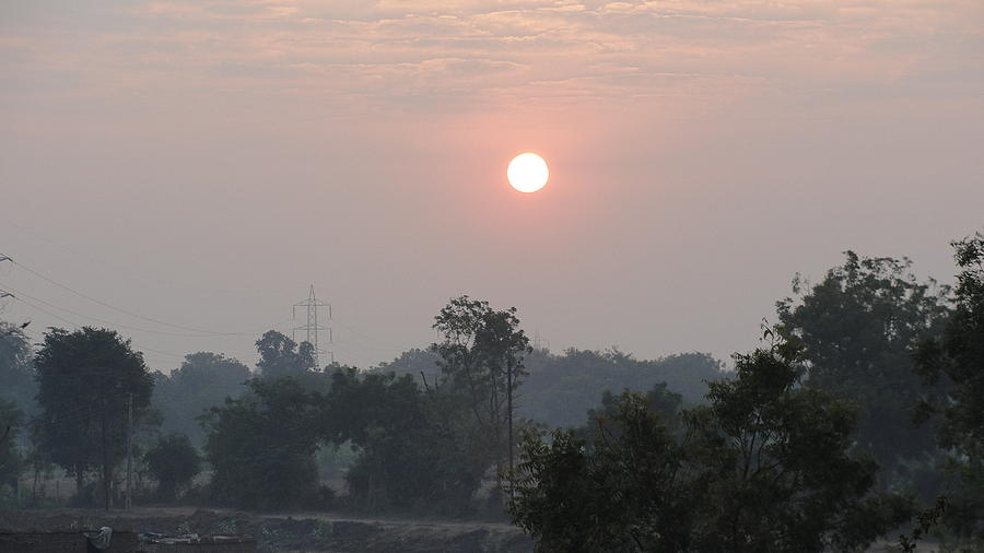 Sunrise Near Surat Pyrography - Sunrise by Makarand Kapare