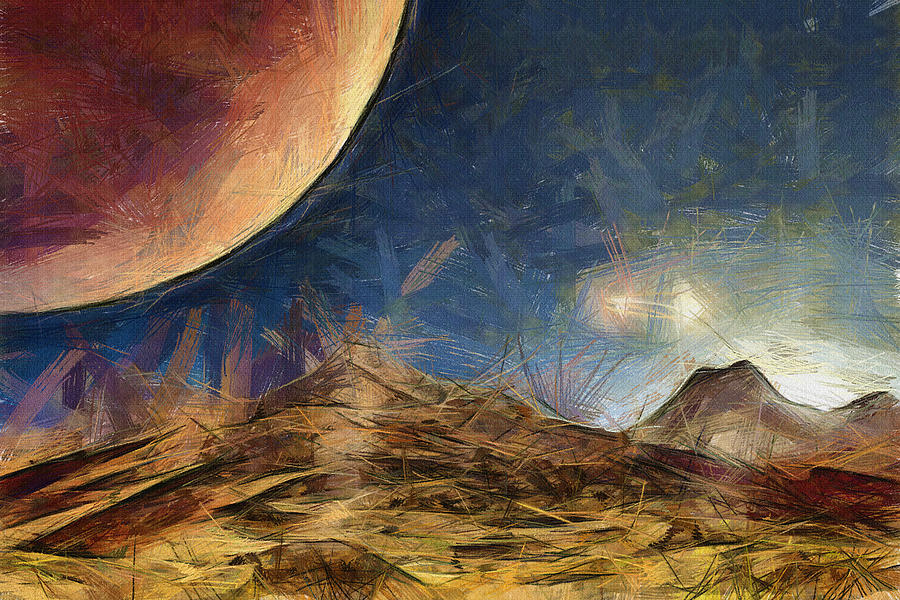 Sunrise On Space Painting  - Sunrise On Space Fine Art Print