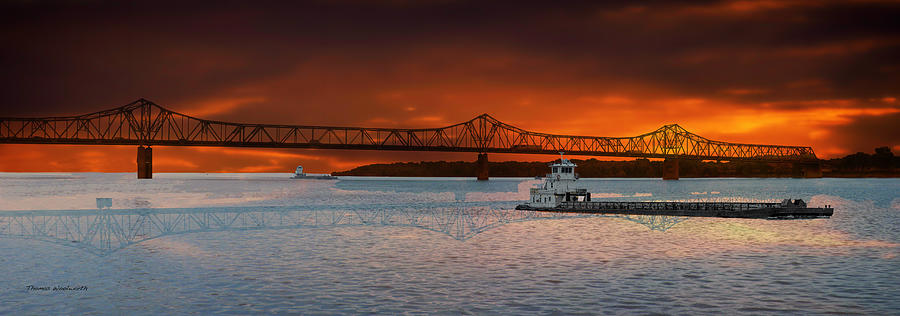 Peoria Photograph - Sunrise On The Illinois River by Thomas Woolworth