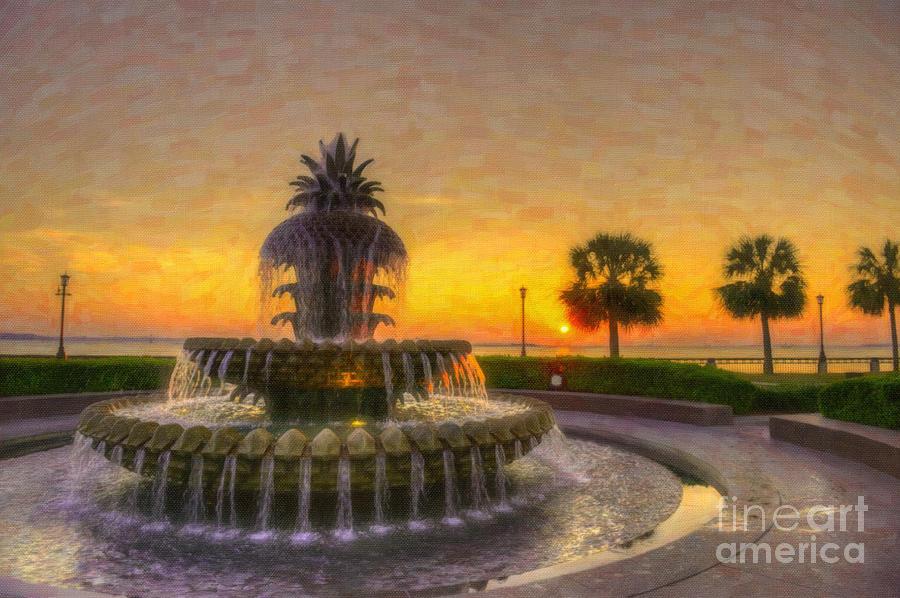 Sunrise Over Pinapple Fountain Digital Art