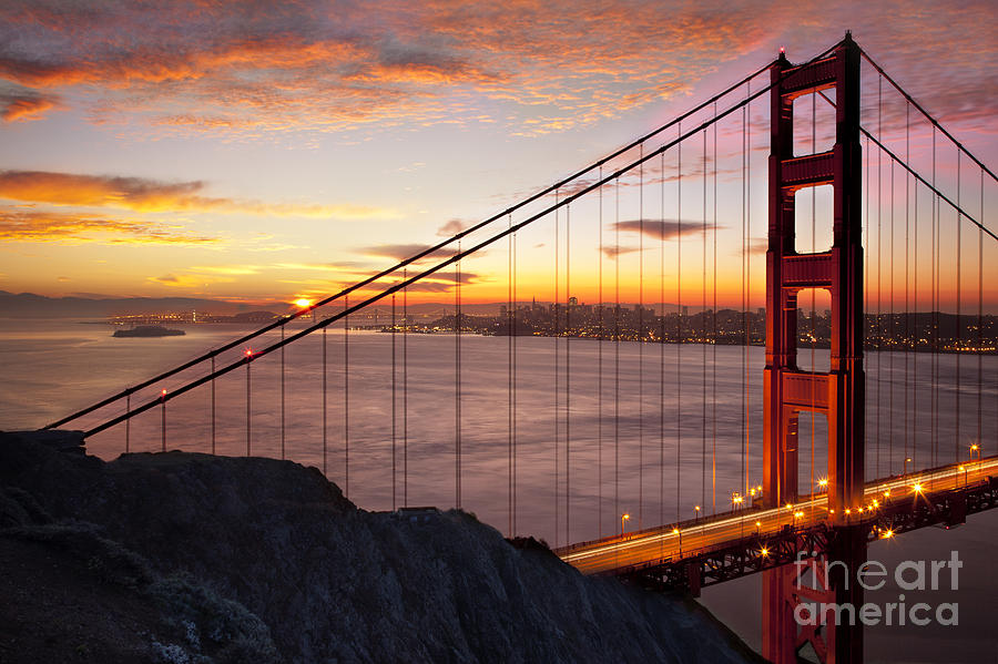 Sunrise Over The Golden Gate Bridge Photograph