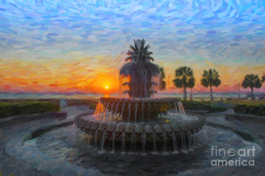 Sunrise Over The Pineapple Digital Art