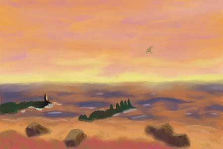 Sunrise Over Water Digital Art