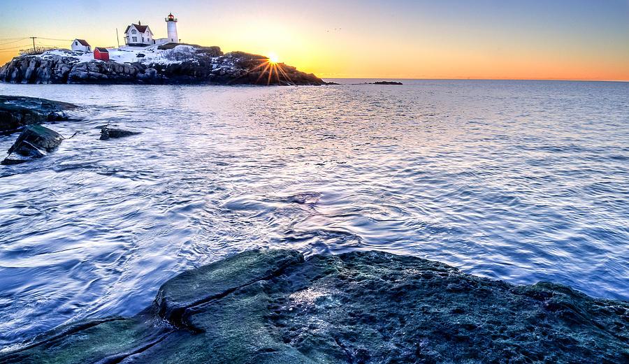 Cape Neddick Photograph - Sunrise Starburst Over Nubble Lighthouse  by Thomas Schoeller