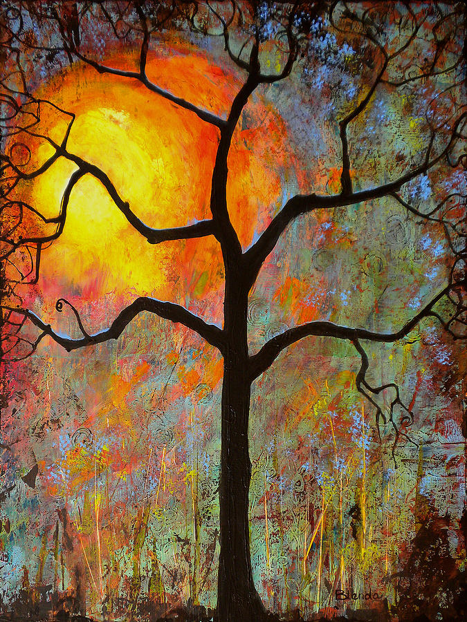Tree Painting - Sunrise Sunset by Blenda Studio