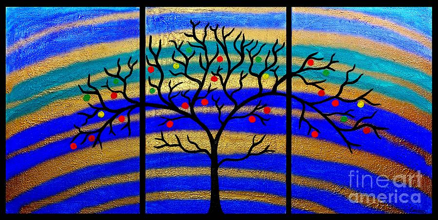 Sunrise Tree - Abstract Oil Painting Original Metallic Gold Textured Modern Contemporary Art Painting