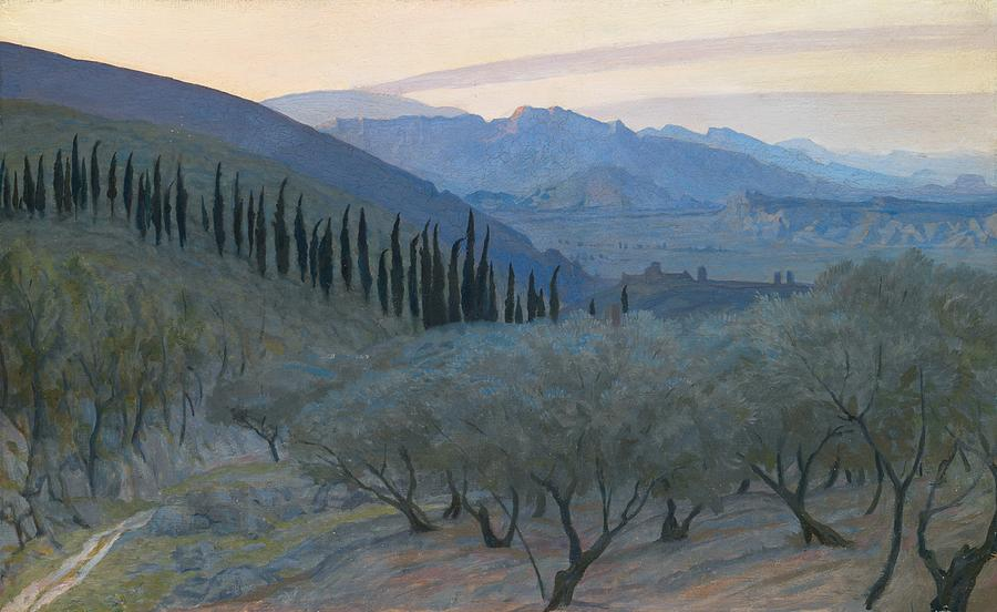 Sunrise Umbria 1914 Painting  - Sunrise Umbria 1914 Fine Art Print