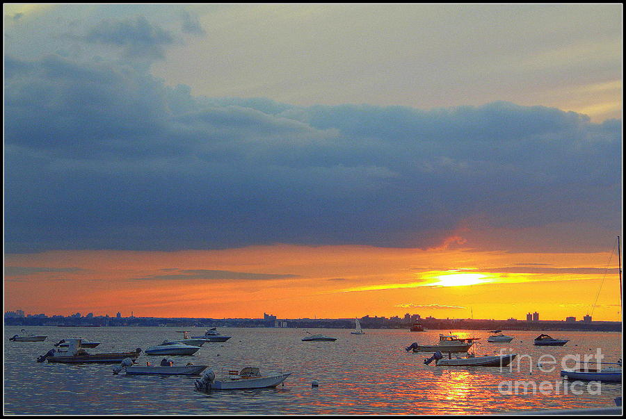 Sunsets Photograph - Sunset And Blue Clouds by Dora Sofia Caputo Photographic Art and Design