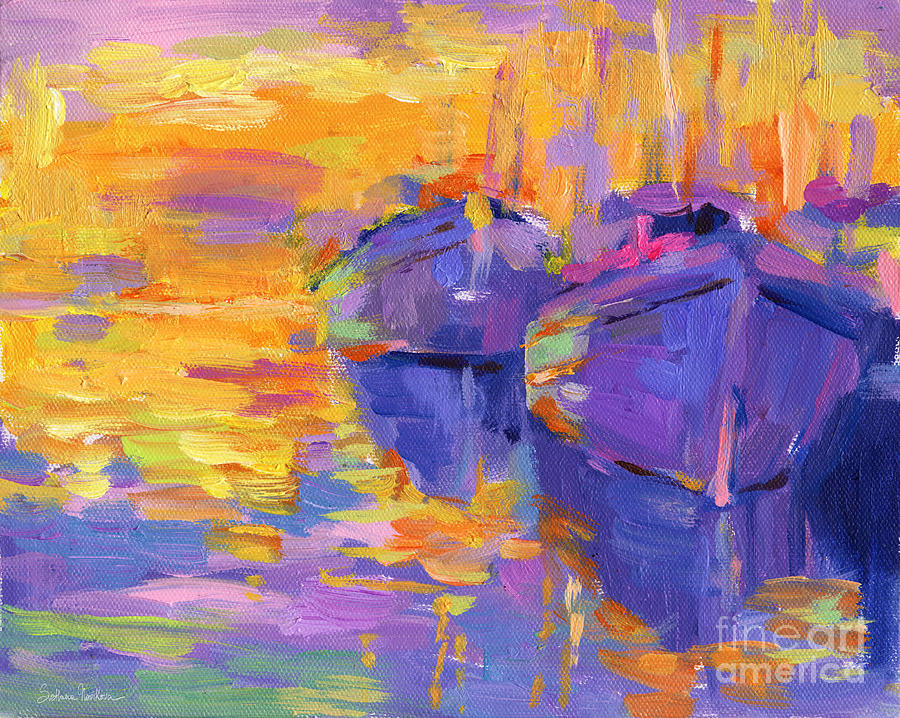 Sunset And Boats Painting