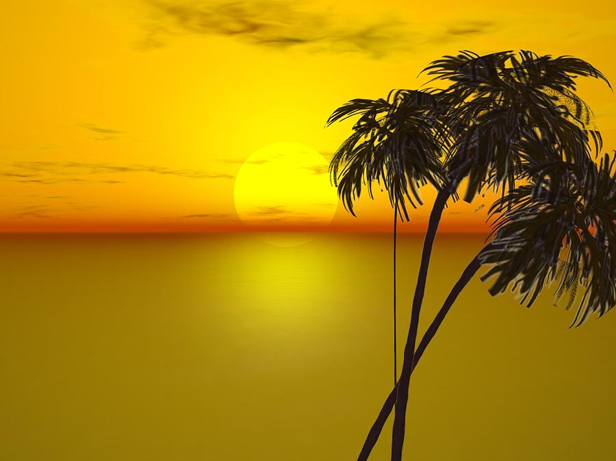 Sunset And Palms Painting  - Sunset And Palms Fine Art Print