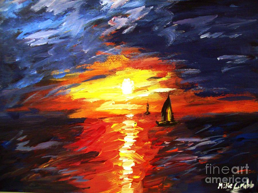 Sunset Painting - Sunset And Sails by Michael Grubb