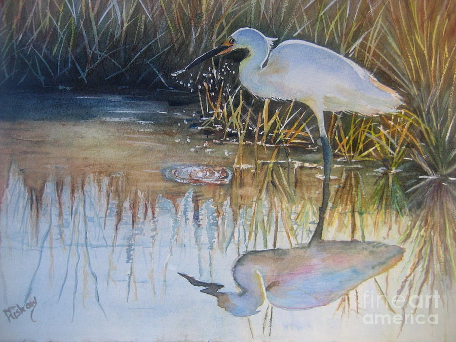 Snowy Egret Painting - Sunset And Snowy Egret by Patricia Pushaw