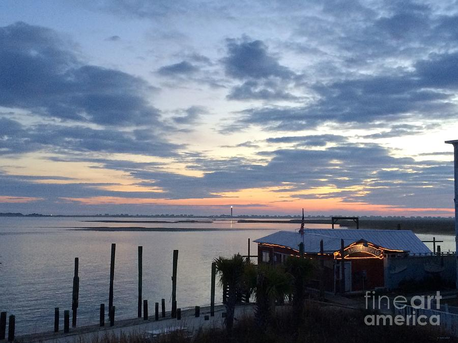 Art Painting - Sunset At American Fish Co       Safe Havens Ivans In Southport Nc by Shelia Kempf